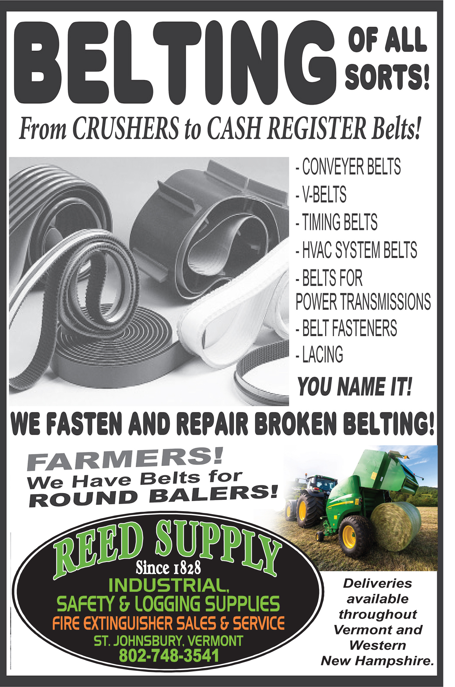 Belting of All Sorts! From Crushers to Cash Register Belts!